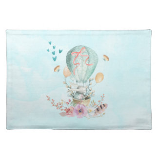 Whimsical Bunny Riding in a Hot Air Balloon Placemat