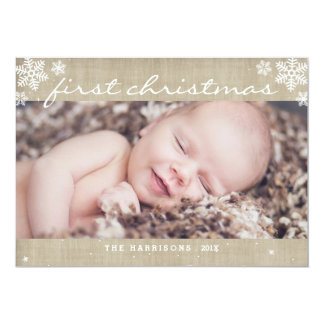 Whimsical Burlap Rustic First Christmas Photo Card