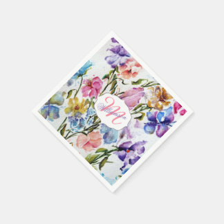 WHIMSICAL BUTTERFLIES AND FLOWERS DISPOSABLE SERVIETTE