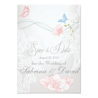 Whimsical Butterflies and Lace Save the Date Card