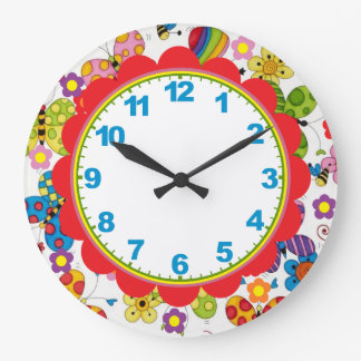 Whimsical Butterflies Children's Clock w/Numbers