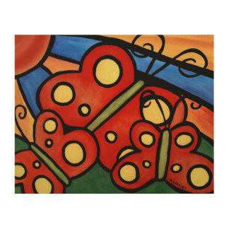 Whimsical Butterflies Painting Wood Wall Art