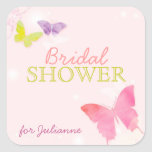 Whimsical Butterfly Pink Bridal Shower Stickers