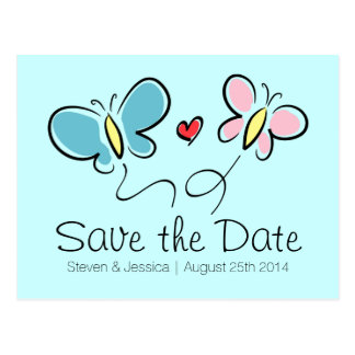 Whimsical butterfly save the date wedding postcard