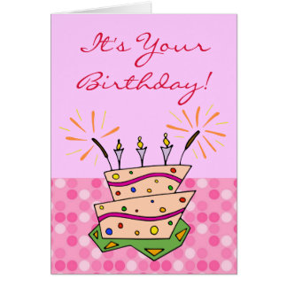 Whimsical Cake Sparklers Candles Happy Birthday Greeting Card