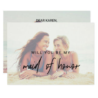Whimsical Calligraphy | Faded Photo Maid Of Honor Card