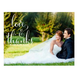 WHIMSICAL CALLIGRAPHY WEDDING THANK YOU POSTCARD