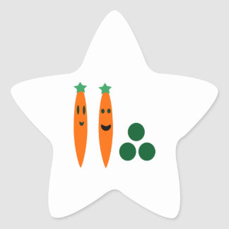 Whimsical  Carrots and Peas Star Sticker