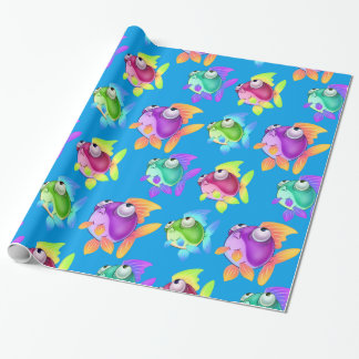 Whimsical cartoon fish wrapping paper