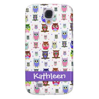 Whimsical Cartoon Owls i Galaxy S4 Case