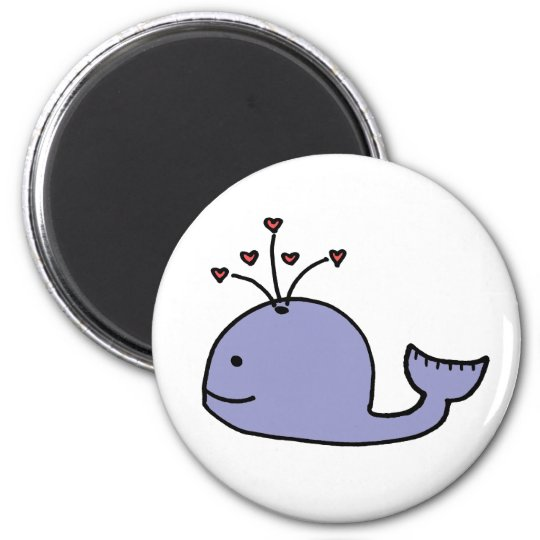 Whimsical Cartoon Whale 6 Cm Round Magnet