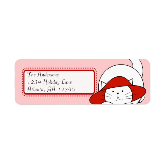 Whimsical Cat In a Red Hat Return Address Return Address Label