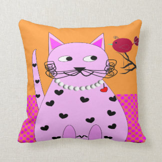 Whimsical Cat PIllow Fat Cat and Bird