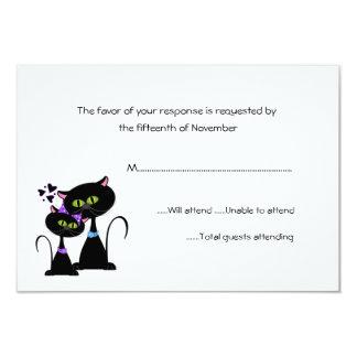 Whimsical Cats Wedding RSVP 9 Cm X 13 Cm Invitation Card