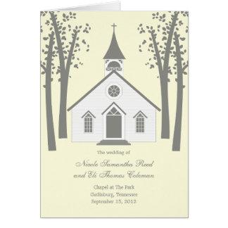 Whimsical Chapel Wedding Program Card