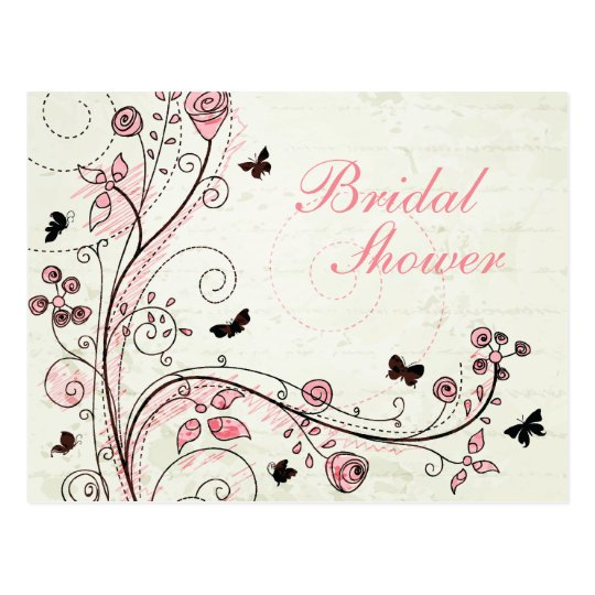 Whimsical chic floral swirls bridal shower invite postcard