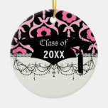 whimsical chic pink flower damask graduation ornaments