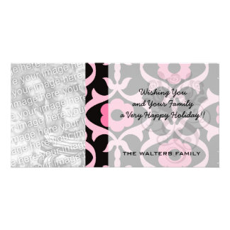 whimsical chic pink flower damask on black customized photo card