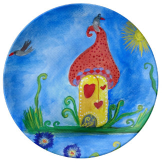 Whimsical Child Illustration e Porcelain Plate
