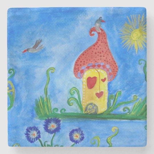Whimsical Child Illustration Stone Coaster