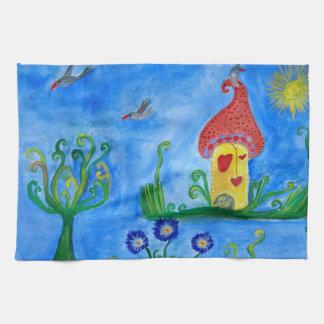 Whimsical Child Illustration Tea Towel