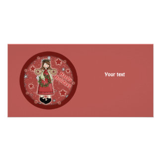 Whimsical Christmas angel and wreath Personalized Photo Card