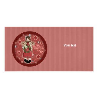 Whimsical Christmas angel and wreath Photo Greeting Card