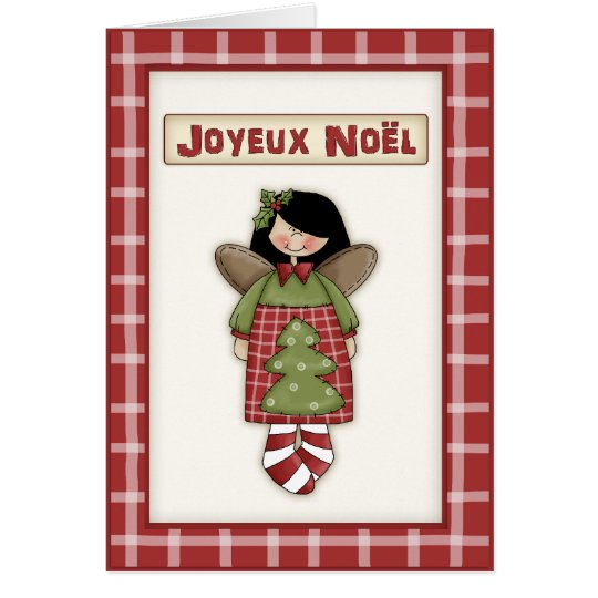 Whimsical Christmas Angel in French Language Card