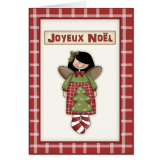 Whimsical Christmas Angel in French Language Greeting Card