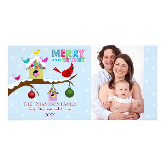 Whimsical Christmas Birds Photo Cards