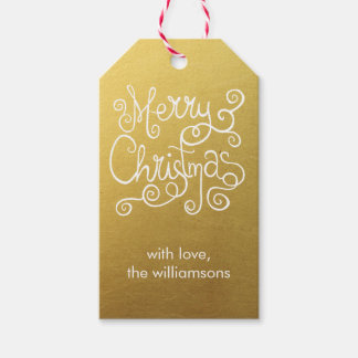 Whimsical Christmas Calligraphy Elegant Swirl Gold Gift Tags