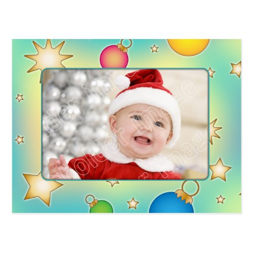 Whimsical Christmas card with stars and baubles Post Cards