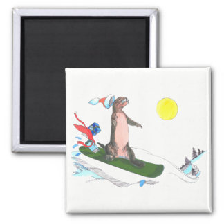Whimsical Christmas Cute Otter Snowboarder Magnet