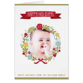 Whimsical Christmas Floral Wreath Photo Card