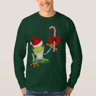 Whimsical Christmas Frog and Candy Cane T-Shirt