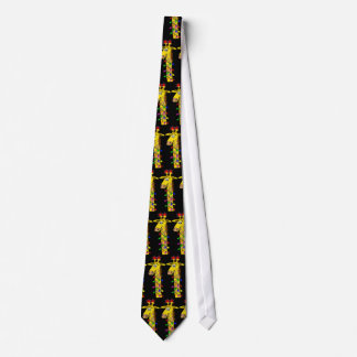 Whimsical Christmas Giraffe with Lights Funny Tie