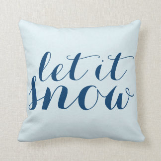 Whimsical Christmas Let it Snow Snowman Holiday Cushion