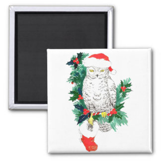 Whimsical Christmas Owl and Stocking designed Square Magnet