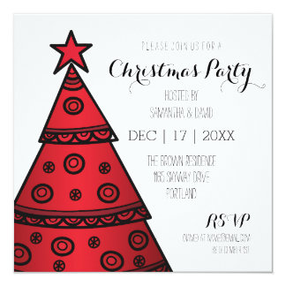 Whimsical Christmas Party Festive Tree Red 13 Cm X 13 Cm Square Invitation Card