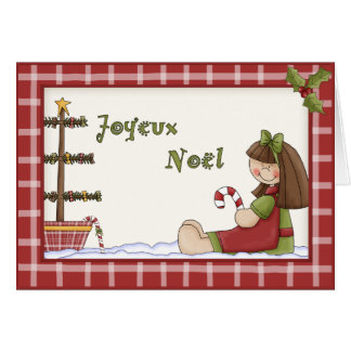 Whimsical Christmas Rag Doll in French Language Card