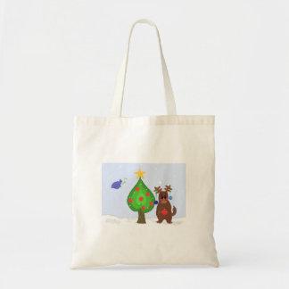 Whimsical Christmas Scene Budget Tote Bag