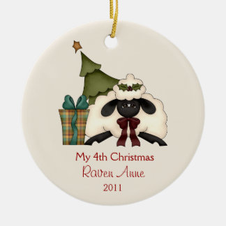 Whimsical Christmas Sheep Child's Photo | Christmas Ornament