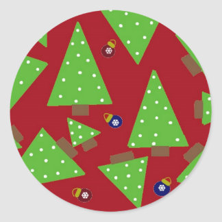 Whimsical Christmas Trees and Decorations Round Sticker