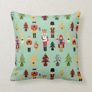 Whimsical Christmas Trees and Nutcrackers Cushion
