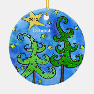 Whimsical Christmas Trees Personalized Ornament