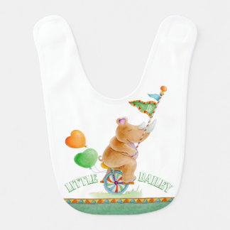 Whimsical circus rhino on a unicycle name art bib
