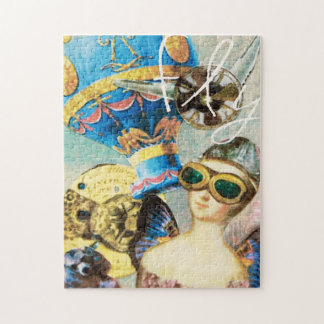 Whimsical Collage Art Hot Air Balloon Woman Pilot Jigsaw Puzzle