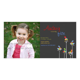 Whimsical Color Dots Birds Tree Kids 5th Birthday Photo Card