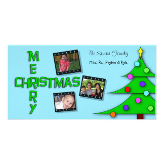 Whimsical Colorful Christmas Tree Triple Photos Photo Card