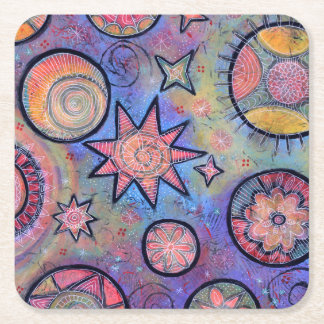 Whimsical Colorful Cosmic Coaster